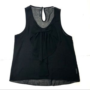 {BCX} Black Bow Detail Sleeveless Sheer Blouse